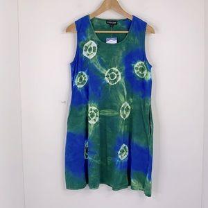 Sara Original Tie Dye Print Sleeveless Pocket Dres